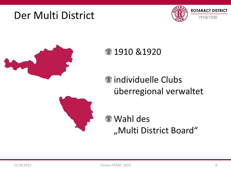 """Der Multi District 1910 &1920. individuelle Clubs überregional verwaltet. Wahl des """"Multi District Board"""