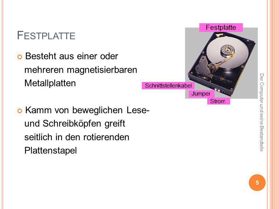 Festplatte Besteht aus einer oder mehreren magnetisierbaren