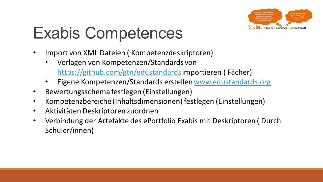 Exabis Competences Import von XML Dateien ( Kompetenzdeskriptoren)