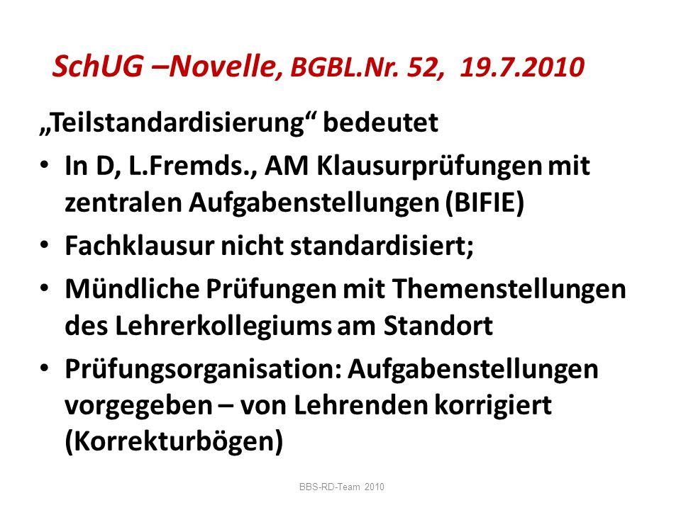 """SchUG –Novelle, BGBL.Nr. 52, 19.7.2010 """"Teilstandardisierung bedeutet"""