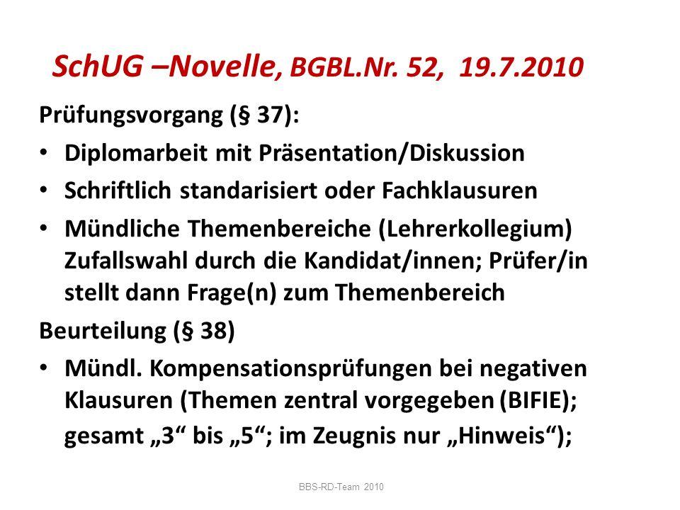 SchUG –Novelle, BGBL.Nr. 52, 19.7.2010 Prüfungsvorgang (§ 37):