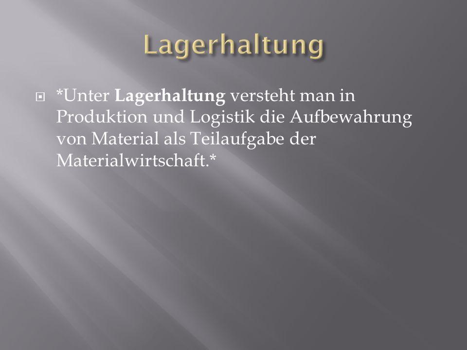 Lagerhaltung *Unter Lagerhaltung versteht man in Produktion und Logistik die Aufbewahrung von Material als Teilaufgabe der Materialwirtschaft.*