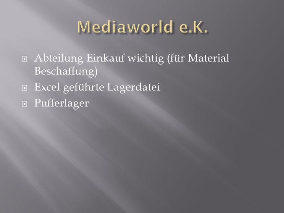 Mediaworld e.K. Abteilung Einkauf wichtig (für Material Beschaffung)