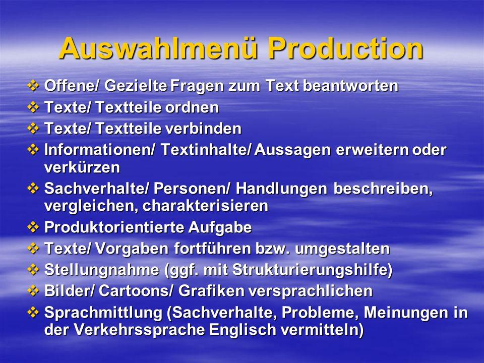 Auswahlmenü Production