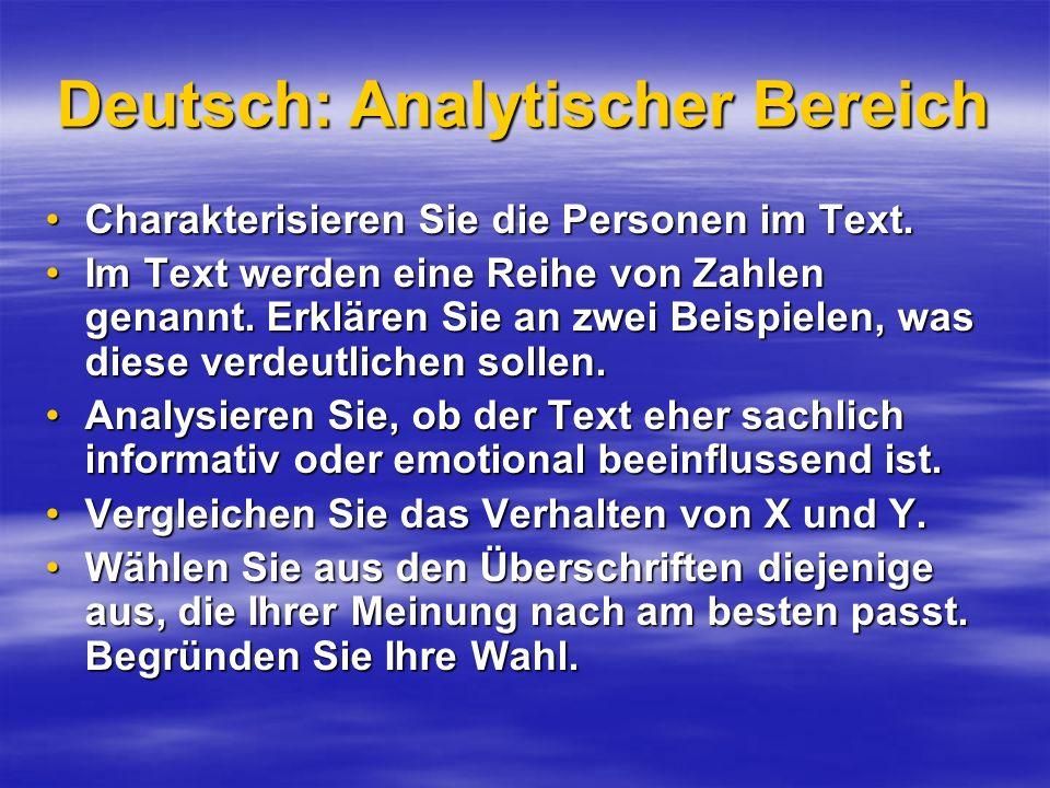 Deutsch: Analytischer Bereich
