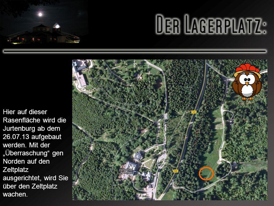 Hier auf dieser Rasenfläche wird die Jurtenburg ab dem 26. 07