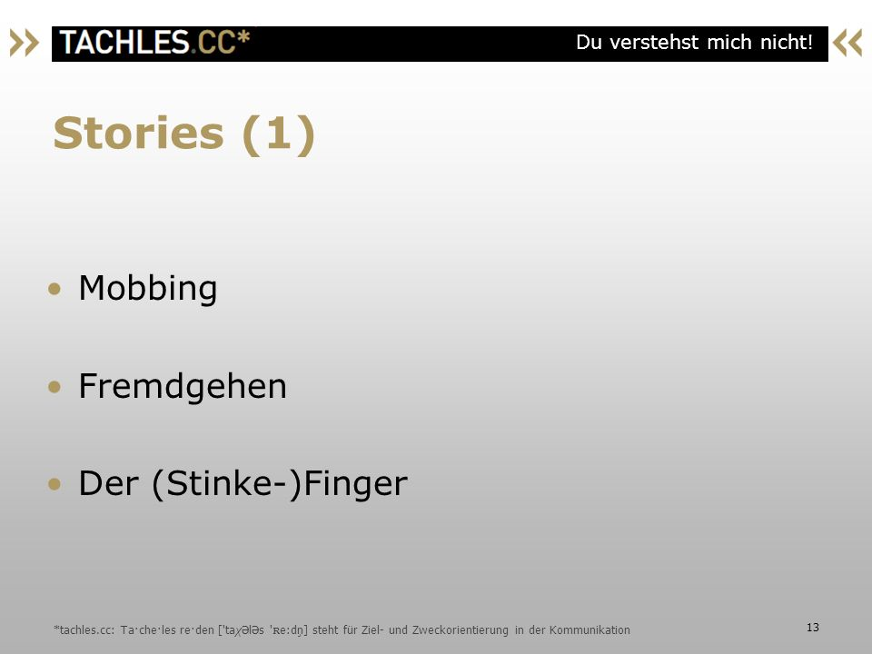 Stories (1) Mobbing Fremdgehen Der (Stinke-)Finger
