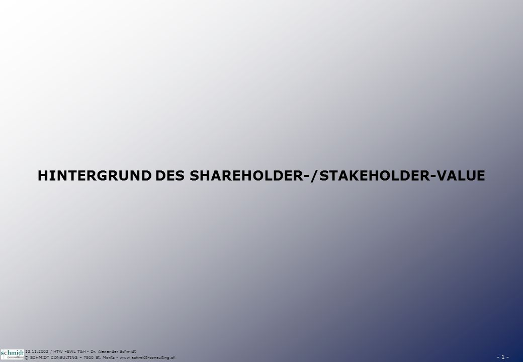 DEFINITION DES SHAREHOLDER VALUES