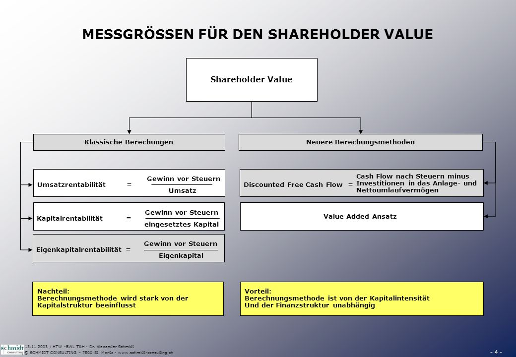 WAS BEINHALTET DER SHAREHOLDER VALUE