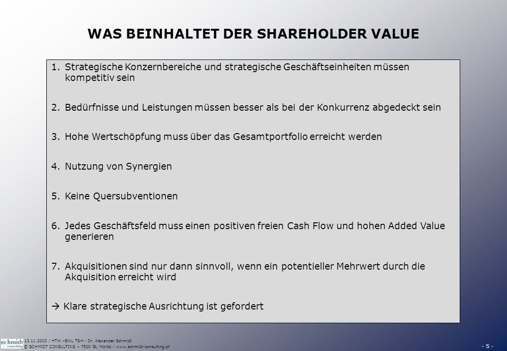 WAS DER SHAREHOLDER VALUE NICHT BEDEUTET