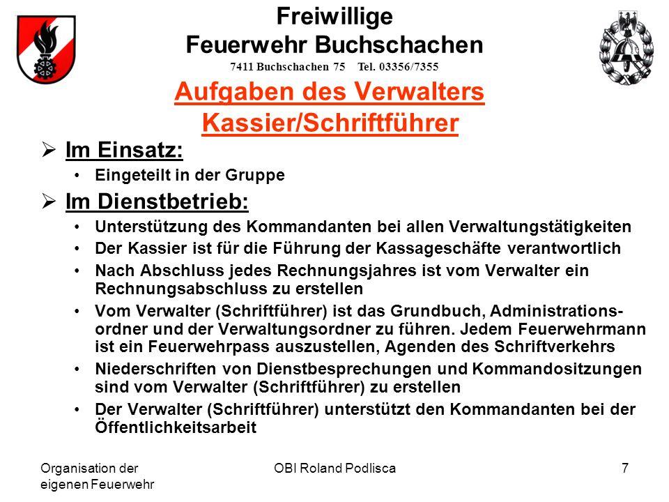 Aufgaben des Verwalters Kassier/Schriftführer