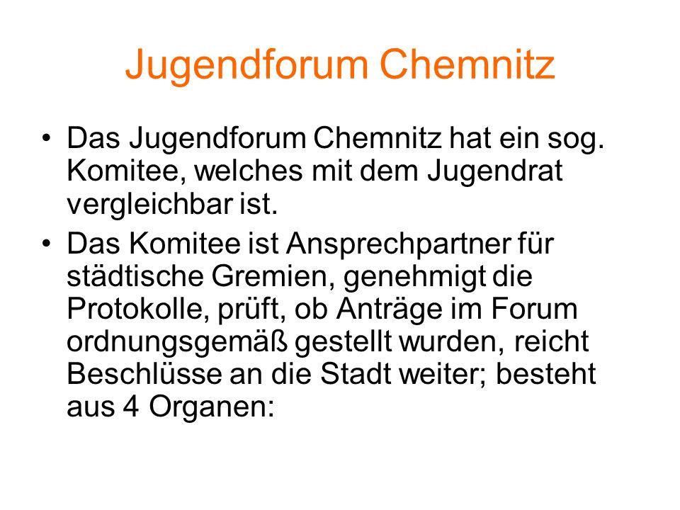 Jugendforum Chemnitz Das Jugendforum Chemnitz hat ein sog. Komitee, welches mit dem Jugendrat vergleichbar ist.