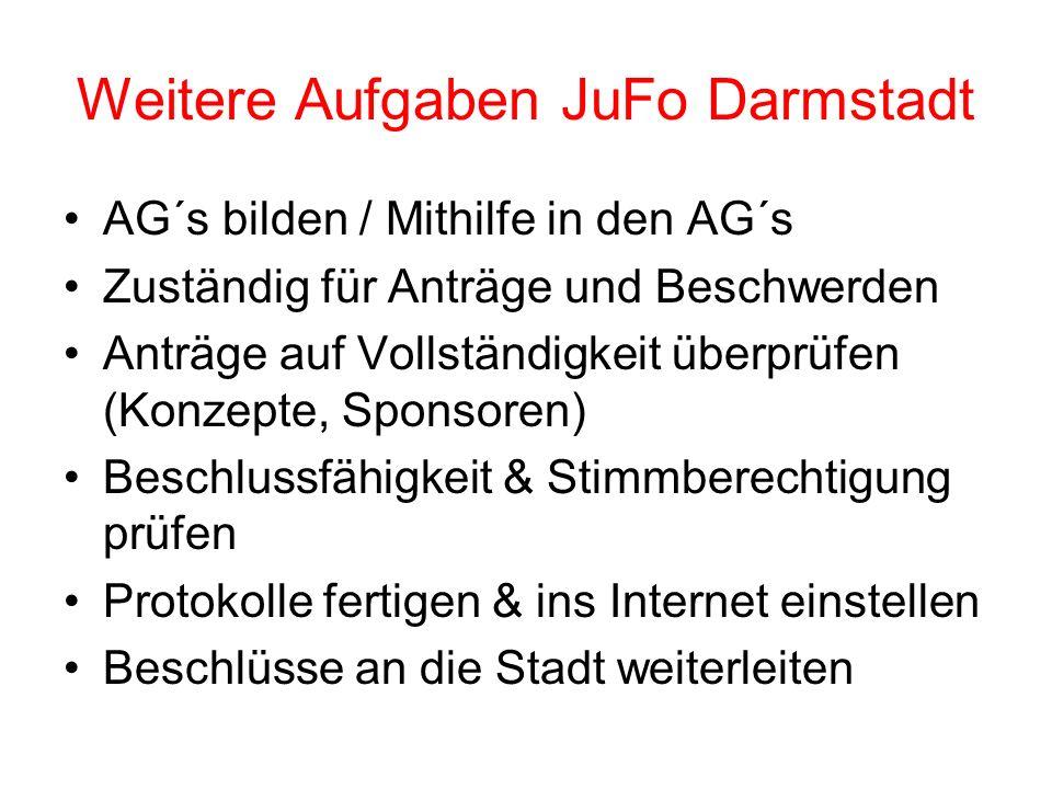 Weitere Aufgaben JuFo Darmstadt