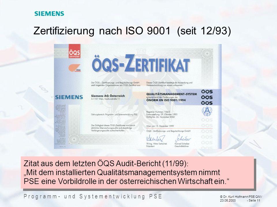 Zertifizierung nach ISO 9001 (seit 12/93)