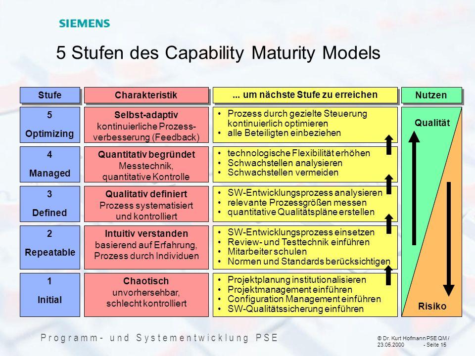 5 Stufen des Capability Maturity Models