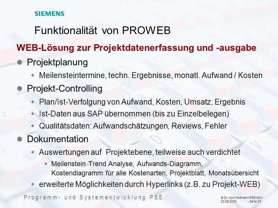 Funktionalität von PROWEB