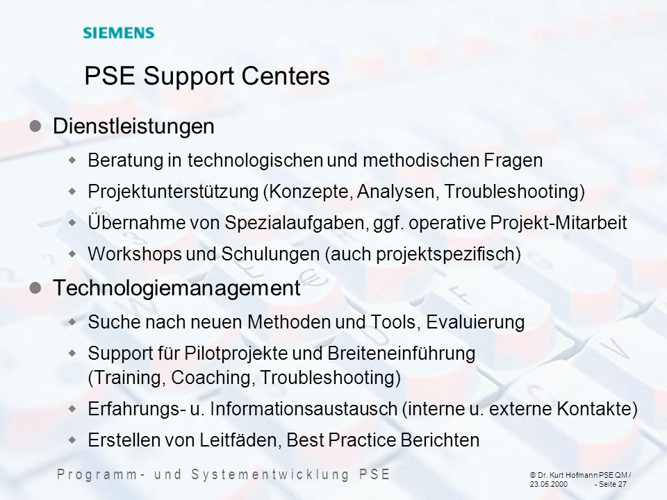 PSE Support Centers Dienstleistungen Technologiemanagement