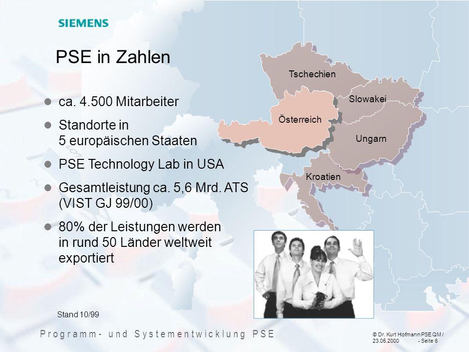 PSE in Zahlen ca. 4.500 Mitarbeiter