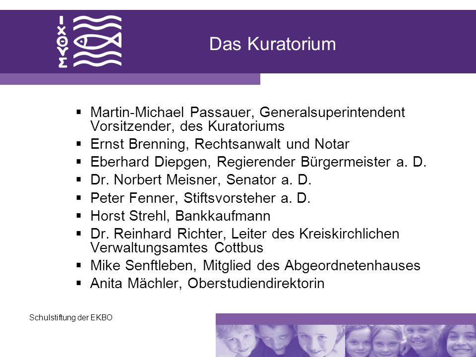 Das Kuratorium Martin-Michael Passauer, Generalsuperintendent Vorsitzender, des Kuratoriums. Ernst Brenning, Rechtsanwalt und Notar.