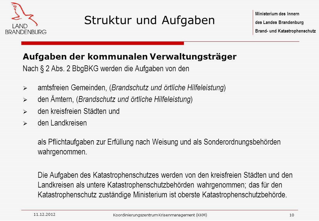 Struktur und Aufgaben Ministerium des Innern Land Brandenburg