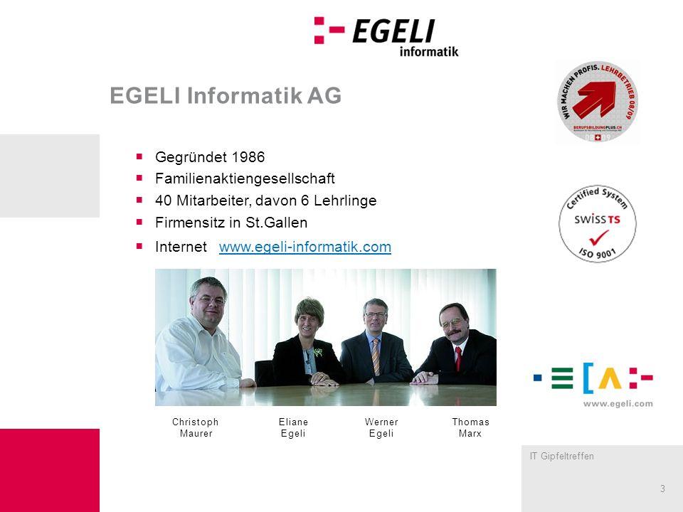 EGELI Informatik AG Gegründet 1986 Familienaktiengesellschaft