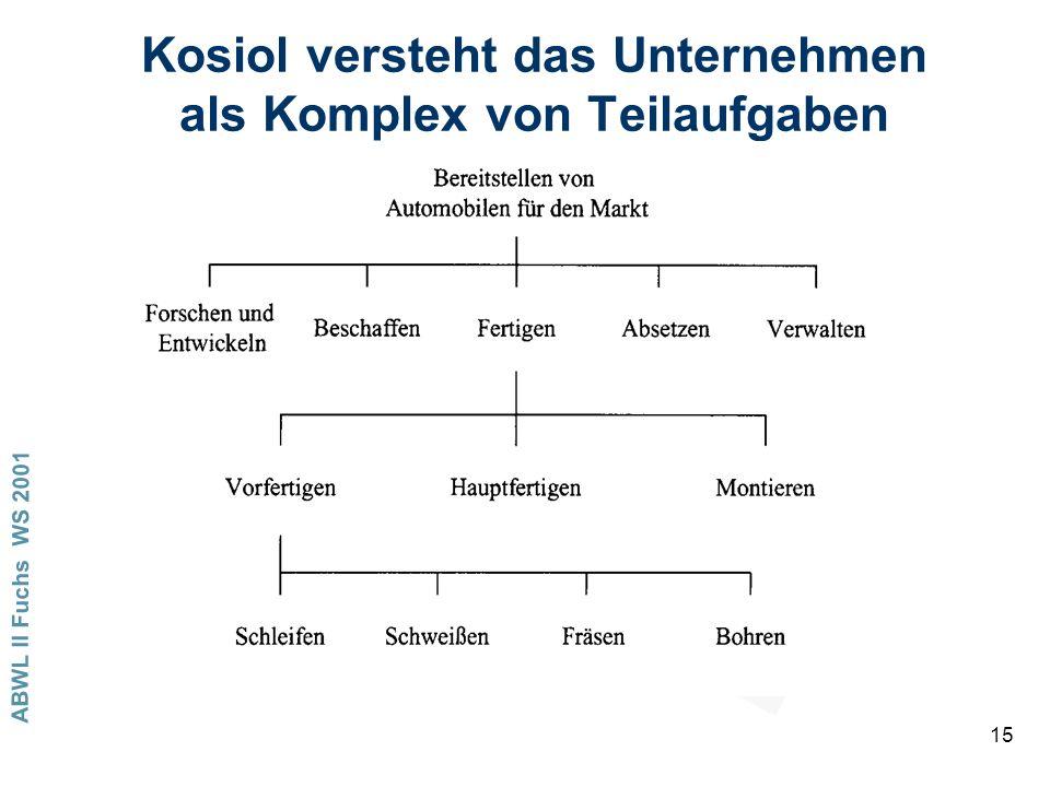 Kosiol versteht das Unternehmen als Komplex von Teilaufgaben