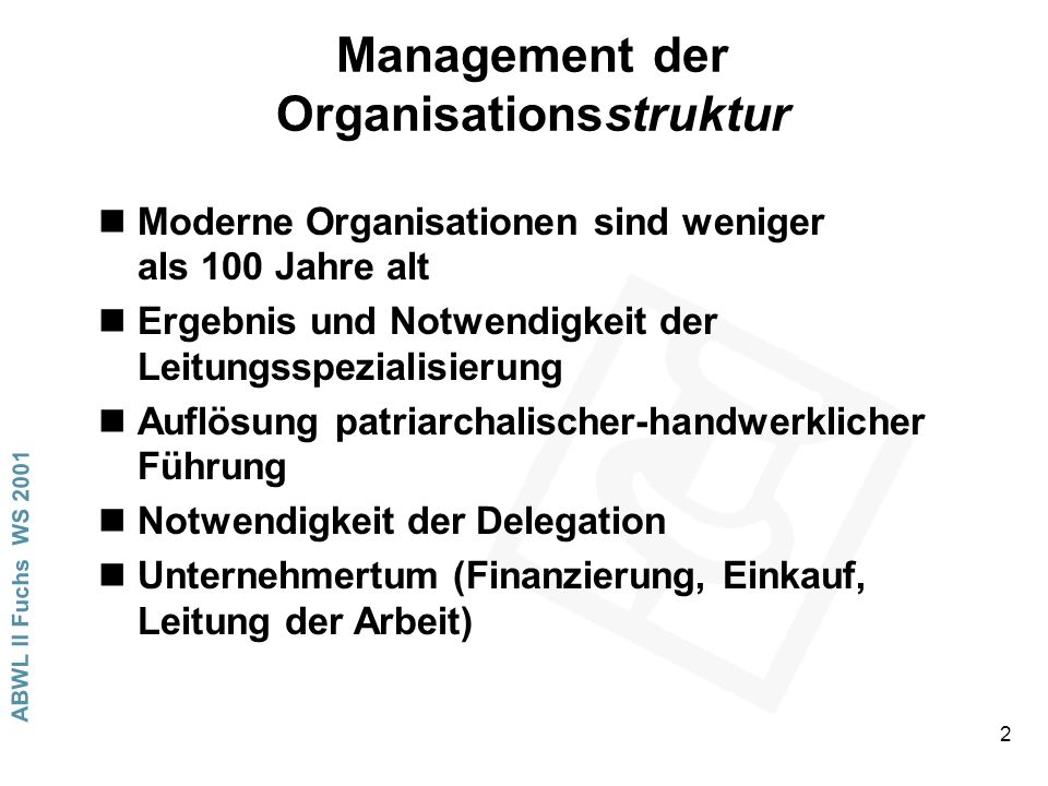 Management der Organisationsstruktur