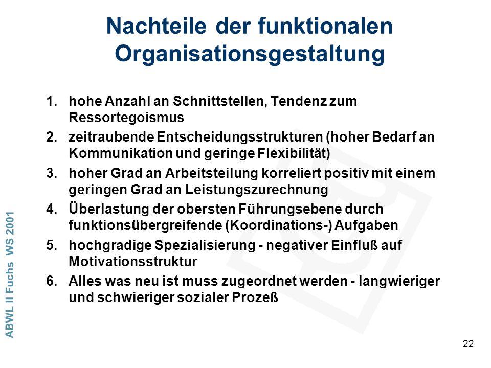 Nachteile der funktionalen Organisationsgestaltung