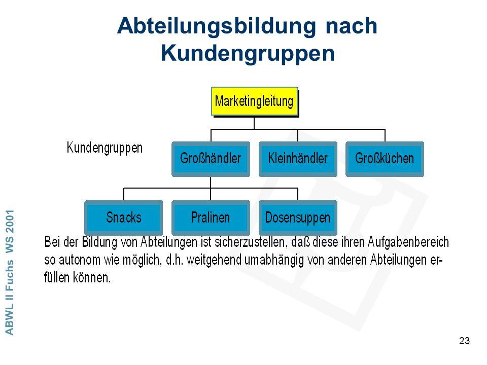 Abteilungsbildung nach Kundengruppen