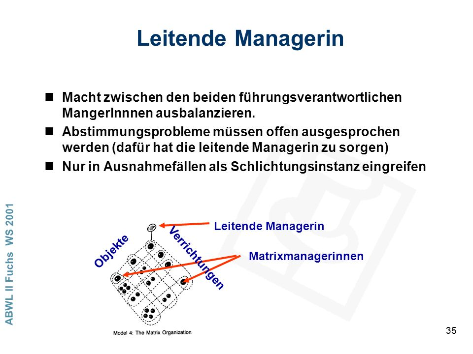 Leitende Managerin Macht zwischen den beiden führungsverantwortlichen MangerInnnen ausbalanzieren.