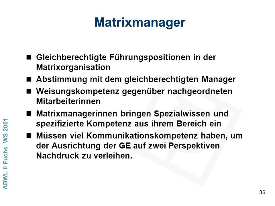 Matrixmanager Gleichberechtigte Führungspositionen in der Matrixorganisation. Abstimmung mit dem gleichberechtigten Manager.