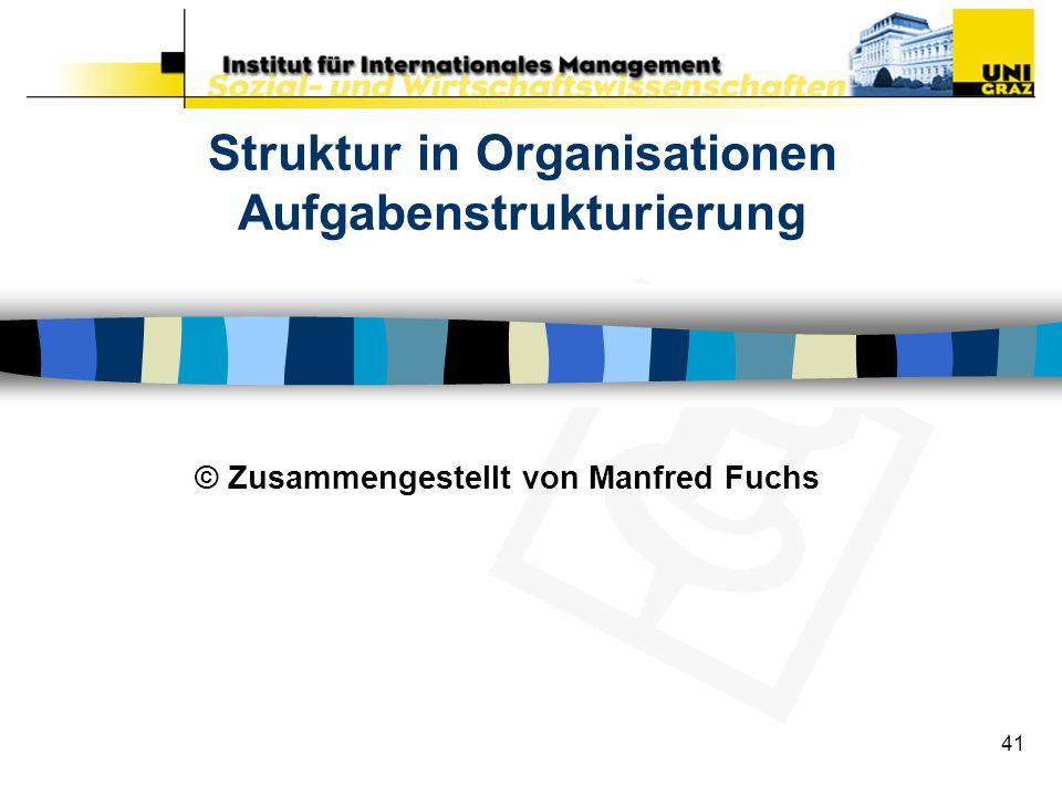 Struktur in Organisationen Aufgabenstrukturierung