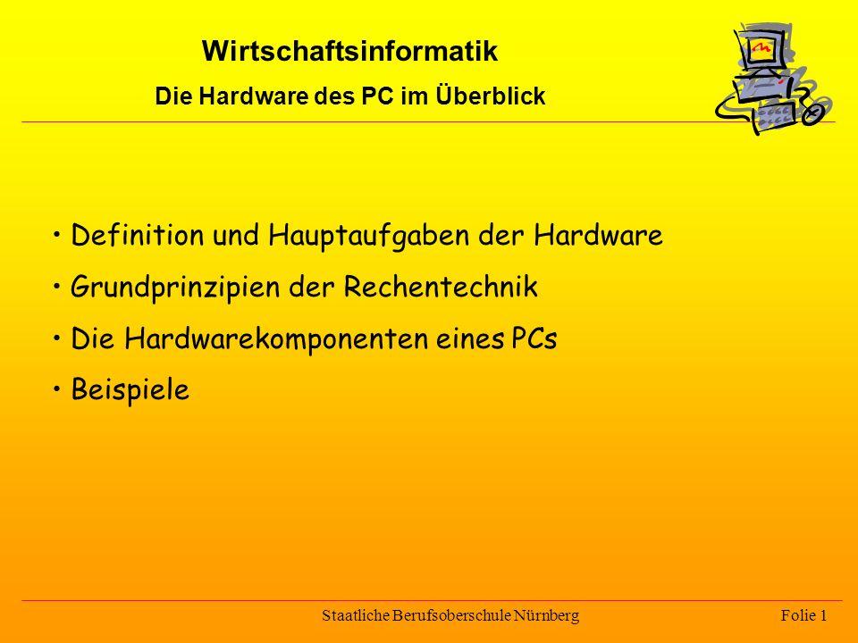 Wirtschaftsinformatik Die Hardware des PC im Überblick
