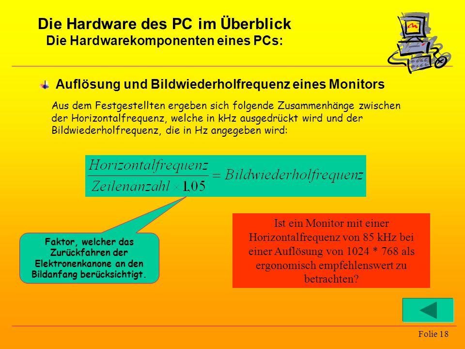 Die Hardware des PC im Überblick Die Hardwarekomponenten eines PCs: