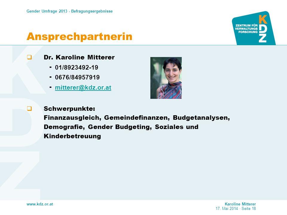 Ansprechpartnerin Dr. Karoline Mitterer 01/8923492-19 0676/84957919