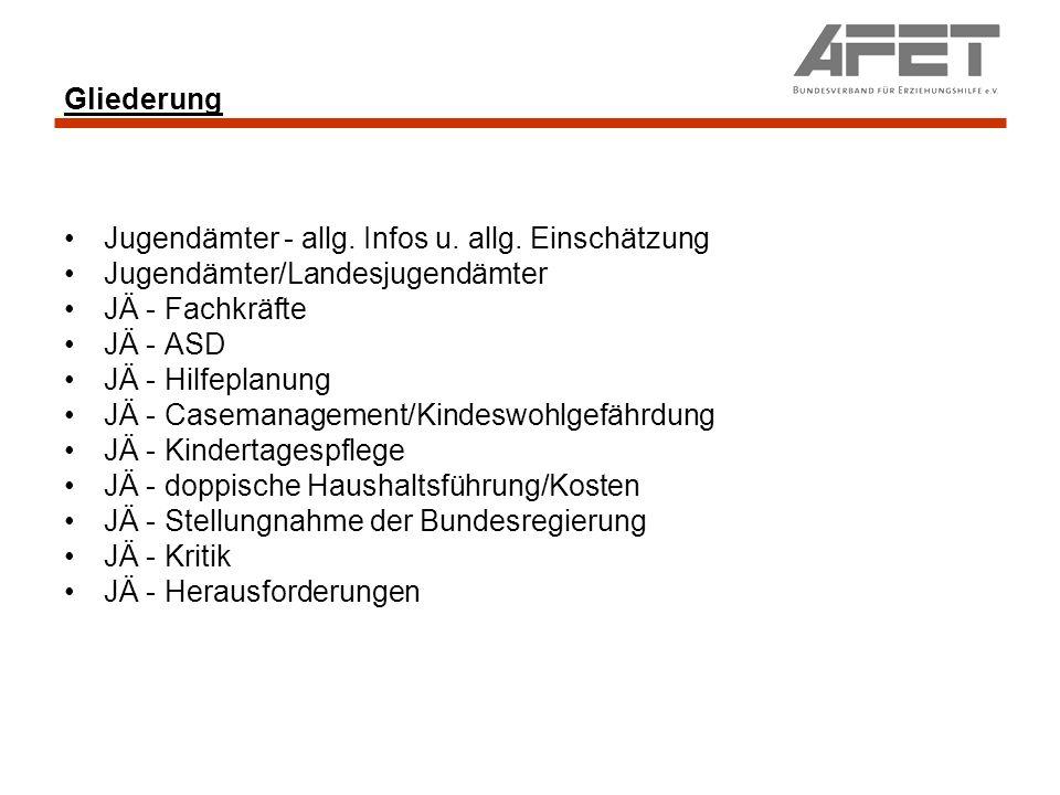 Gliederung Jugendämter - allg. Infos u. allg. Einschätzung. Jugendämter/Landesjugendämter. JÄ - Fachkräfte.