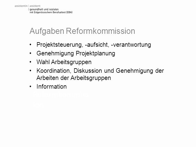 Aufgaben Reformkommission