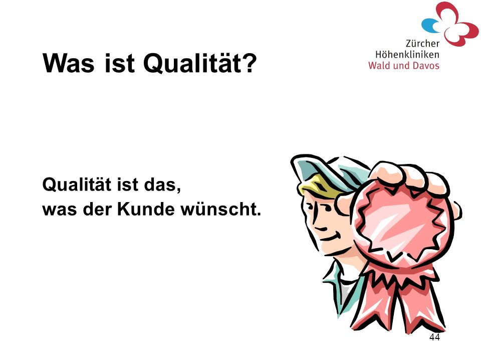 Was ist Qualität Qualität ist das, was der Kunde wünscht.