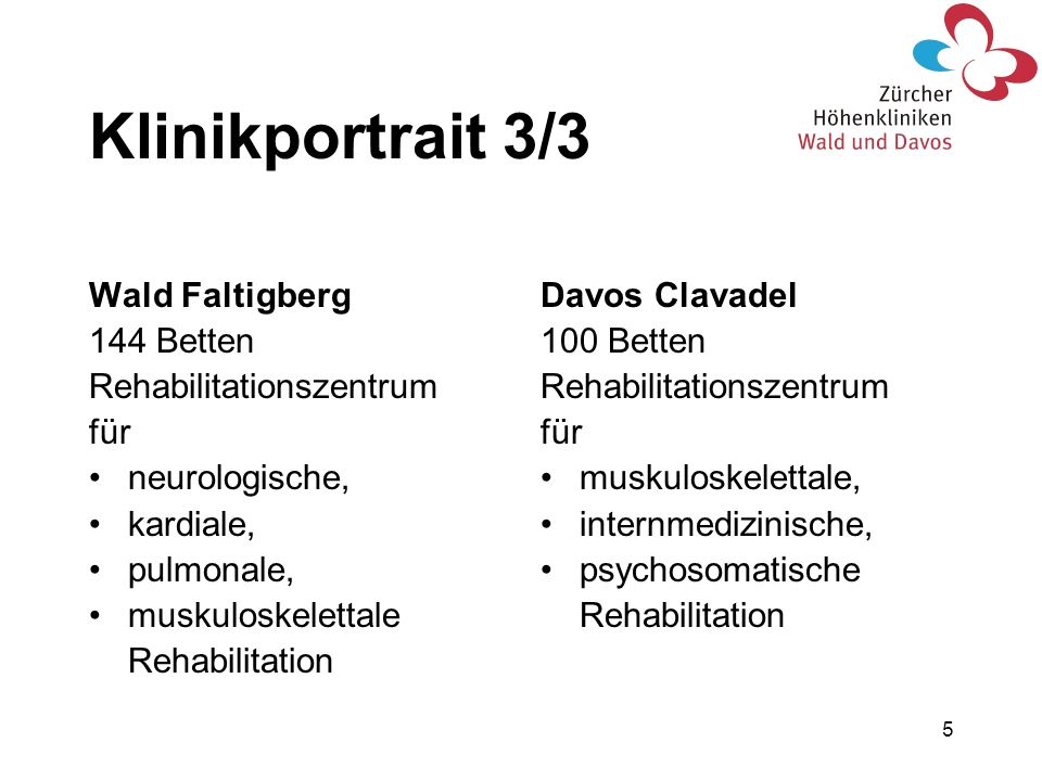 Klinikportrait 3/3 Wald Faltigberg 144 Betten Rehabilitationszentrum