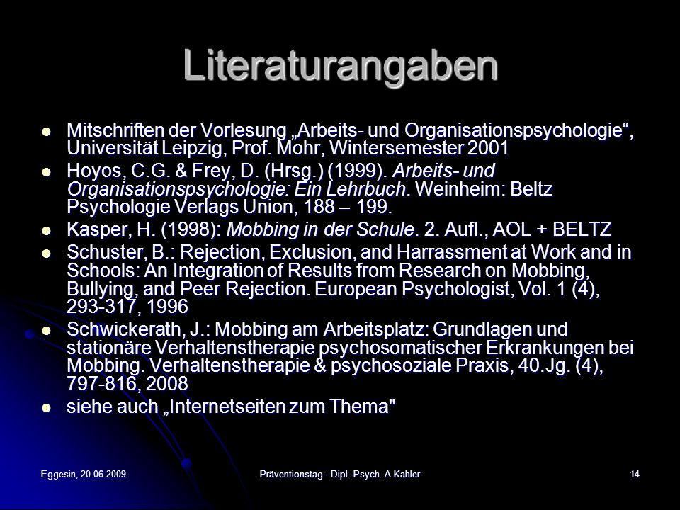 Präventionstag - Dipl.-Psych. A.Kahler