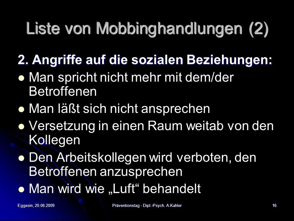 Liste von Mobbinghandlungen (2)