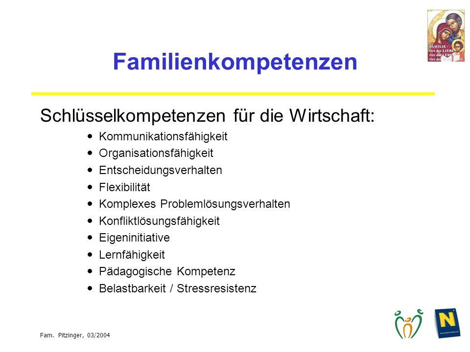 Familienkompetenzen Schlüsselkompetenzen für die Wirtschaft: