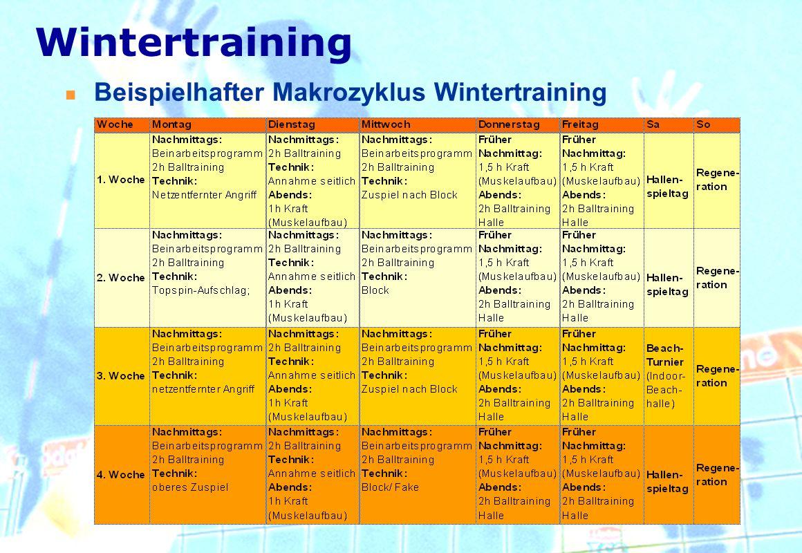 Wintertraining Beispielhafter Makrozyklus Wintertraining