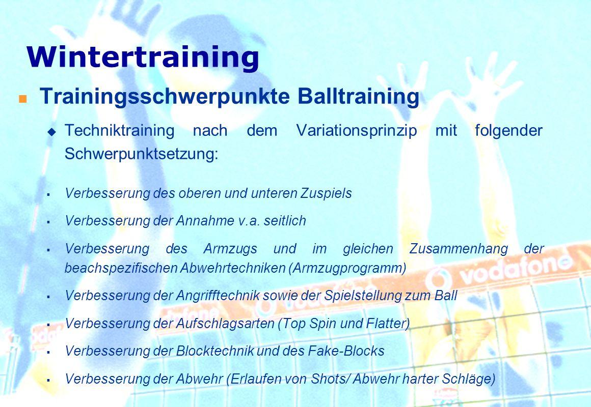 Wintertraining Trainingsschwerpunkte Balltraining