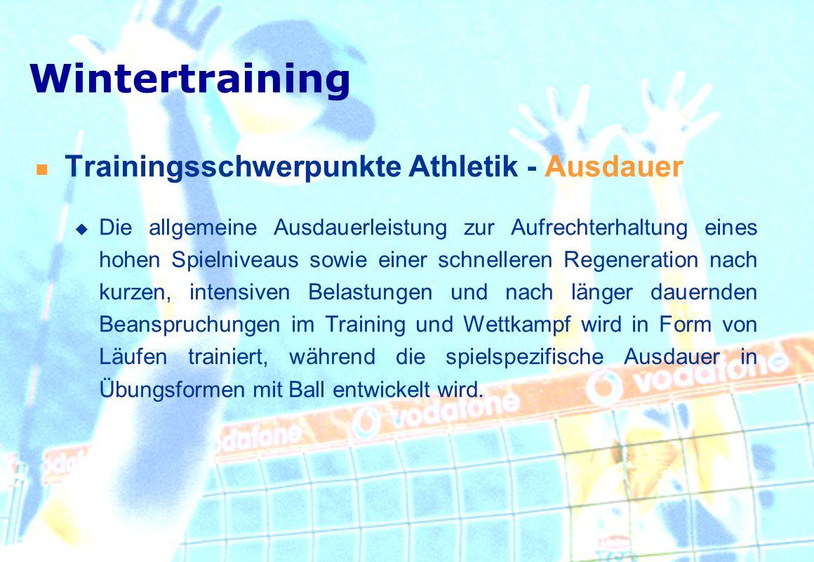 Wintertraining Trainingsschwerpunkte Athletik - Ausdauer
