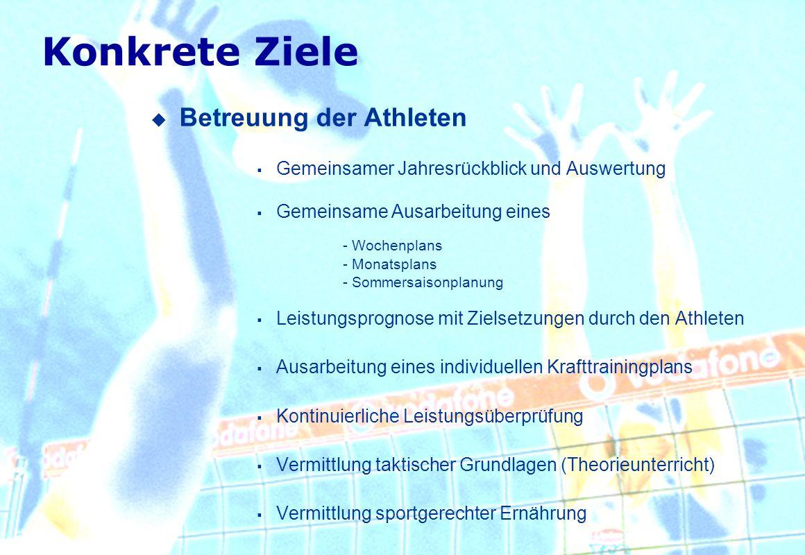 Konkrete Ziele Betreuung der Athleten