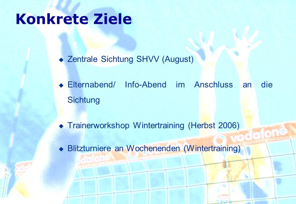 Konkrete Ziele Zentrale Sichtung SHVV (August)