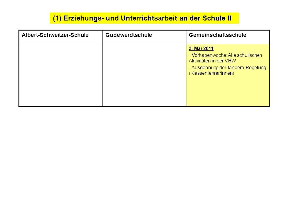 (1) Erziehungs- und Unterrichtsarbeit an der Schule II