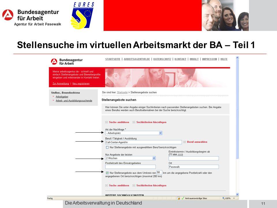 Stellensuche im virtuellen Arbeitsmarkt der BA – Teil 1