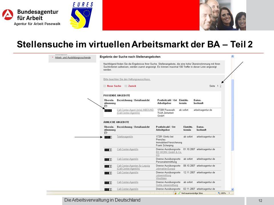 Stellensuche im virtuellen Arbeitsmarkt der BA – Teil 2